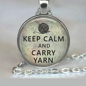 Keep Calm and Carry Yarn Silver & Glass Necklace